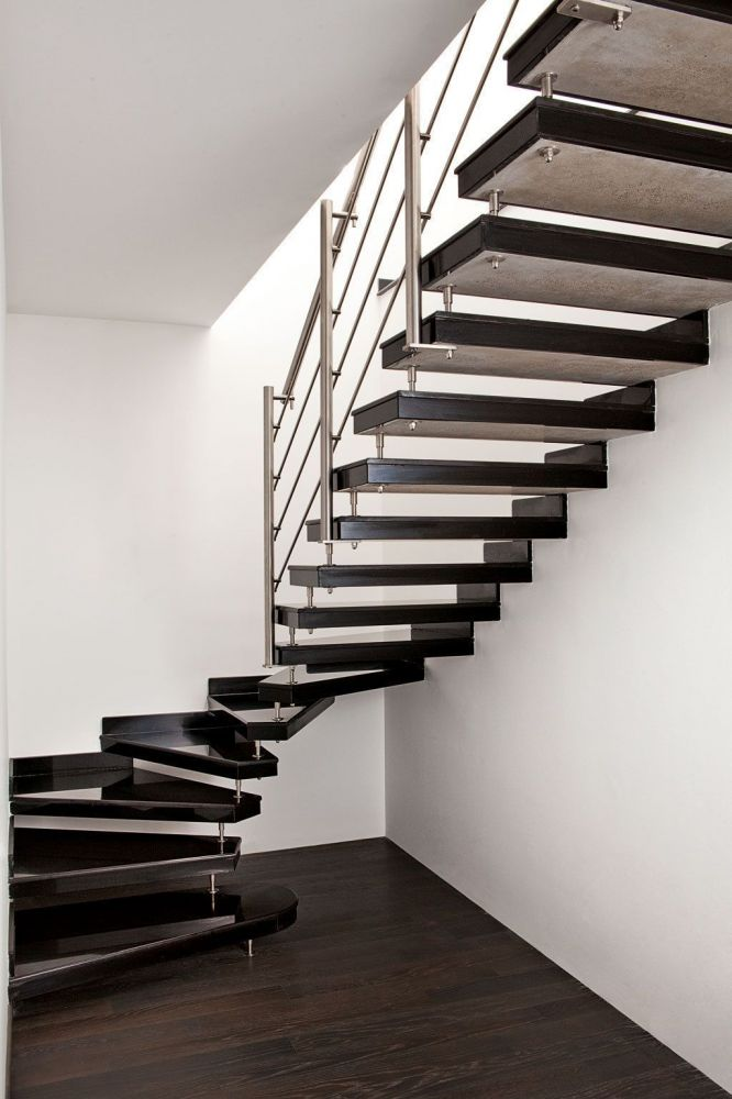 Prefabricated traditional stairs of Absolute Black Granite Gloss